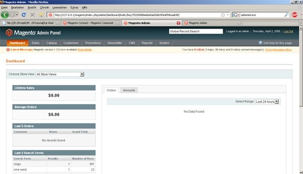 redirect to magento dashboard