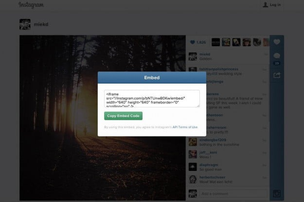 use instagram embed link on your website